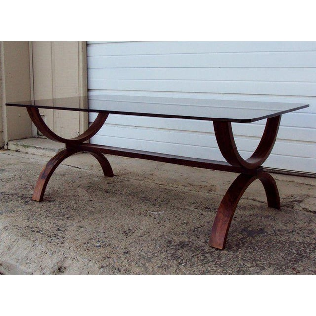 Mid-Century Modern Vintage Modern Curved Jacaranda and Glass Coffee Table For Sale - Image 3 of 8