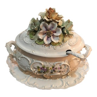Italian Capodimonte Soup Tureen With Platter & Ladle For Sale