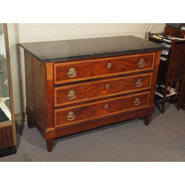 18th century French Directoire mahogany marble top commode. Walnut bordered.