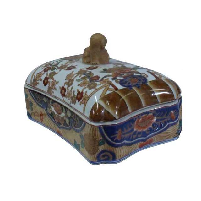 2010s Vintage Oriental Flower Graphic Porcelain Rectangular Box Container For Sale - Image 5 of 7