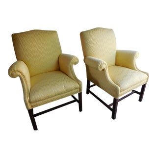 Vintage Yellow Fabric Bergere Chairs - A Pair