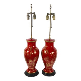 Maitland-Smith Asian Motif Lamps - A Pair For Sale