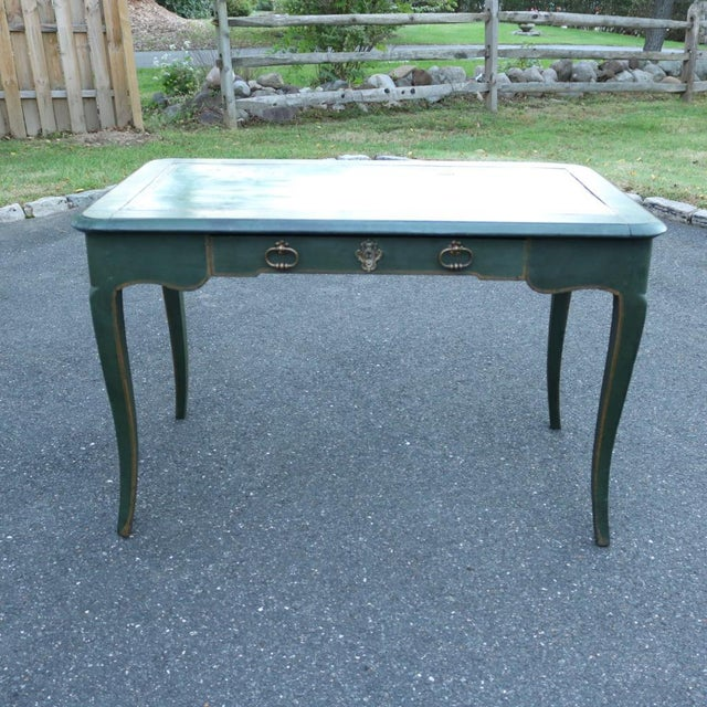 Green Antique French Provincial Leather Top Desk - Image 2 of 11