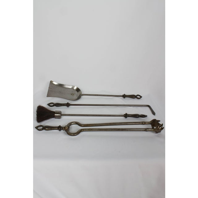 Arts and Crafts Fireplace Set With Andirons and Tools For Sale - Image 10 of 12