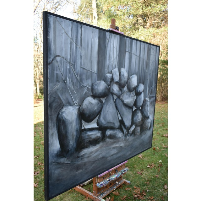 """Sculptural Stone Wall"", Contemporary Large Painting by Stephen Remick For Sale - Image 9 of 13"