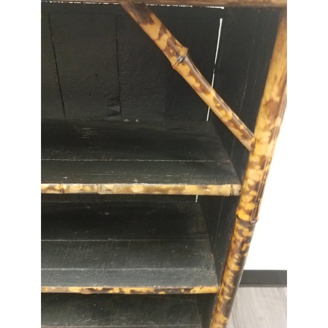 Antique English Bamboo Decoupaged Bookcase With Butterflies For Sale - Image 12 of 13