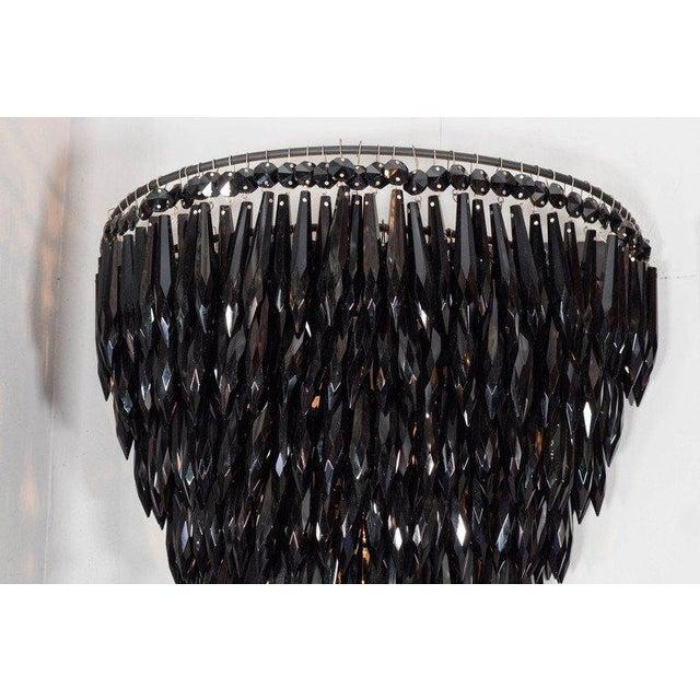Venfield Pair of Elegant Black Crystal Fringe Sconces For Sale - Image 4 of 6