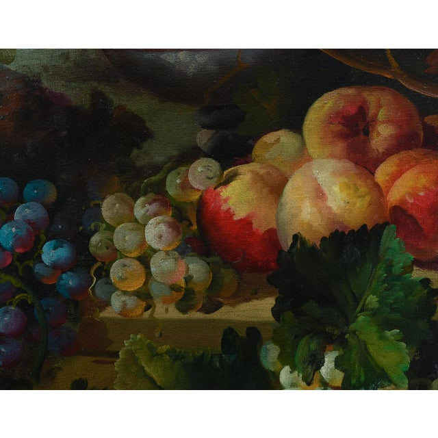 Mid 20th Century Giltwood Carved Frame Artwork Oil Painting Still Life For Sale - Image 5 of 9