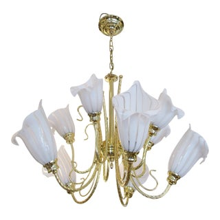 1960s 10 Light Italian Murano Glass Calla Lily Chandelier by Franco Luce For Sale