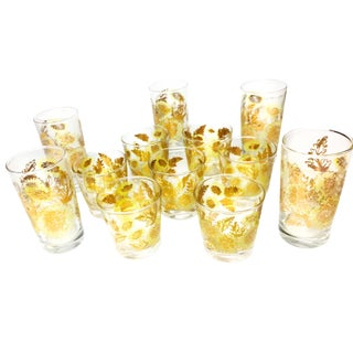Mid-Century Culver-Style Glassware - Set of 12 For Sale
