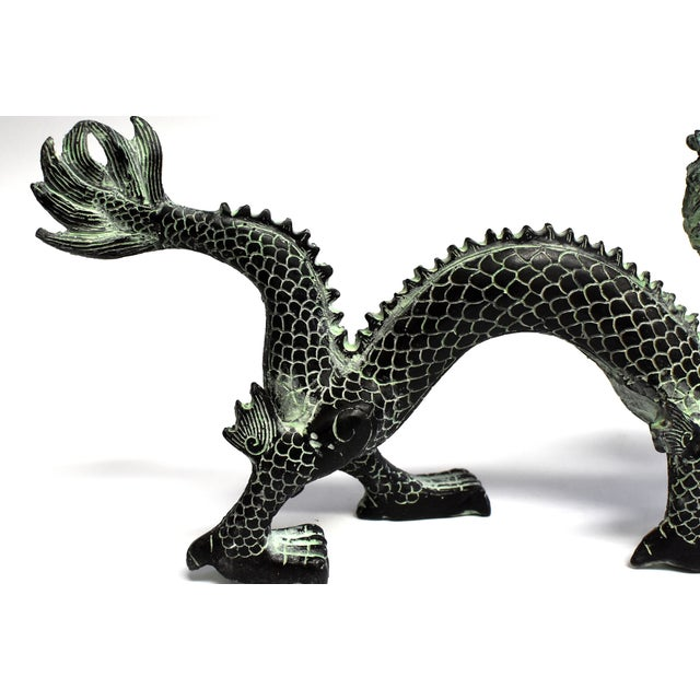 """Bronze Dragon With Fire Ball 11.5"""" Wide For Sale - Image 10 of 13"""