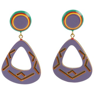 Oversized Dangling Pierced Earrings Multicolor Lucite With Tribal Design For Sale