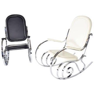 Pair of Maison Jansen Polished Nickel Rocking Chairs, France, 1970s For Sale