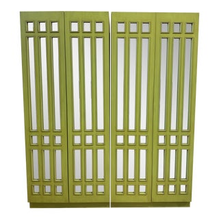 Custom Design Chartreuse Clothing + Storage Armoire - a Pair For Sale