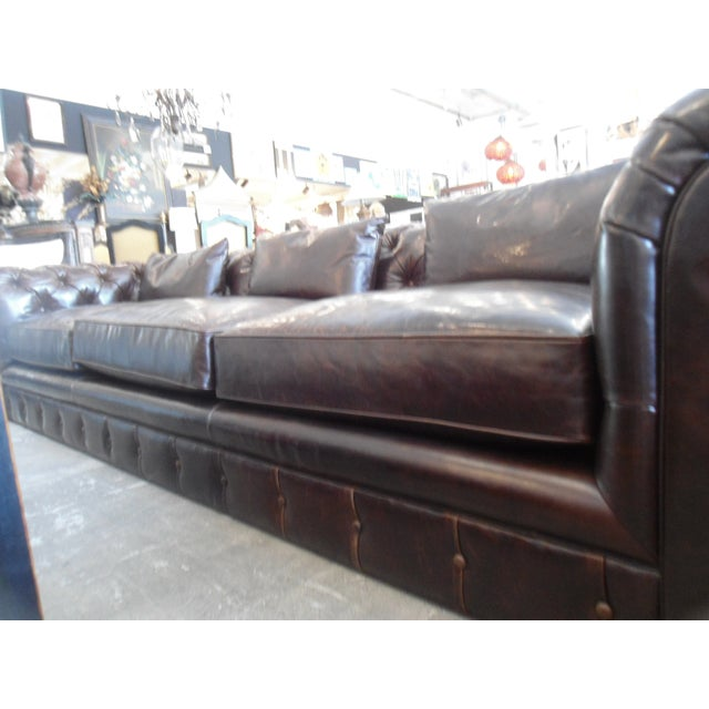 Kravet Chesterfield 3-Seat Sofa, Brown Tufted Leather For Sale - Image 9 of 11