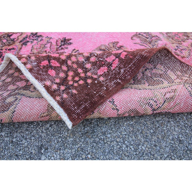 "Vintage Turkish Pink Overdyed Rug - 6' X 9'9"" For Sale - Image 5 of 5"