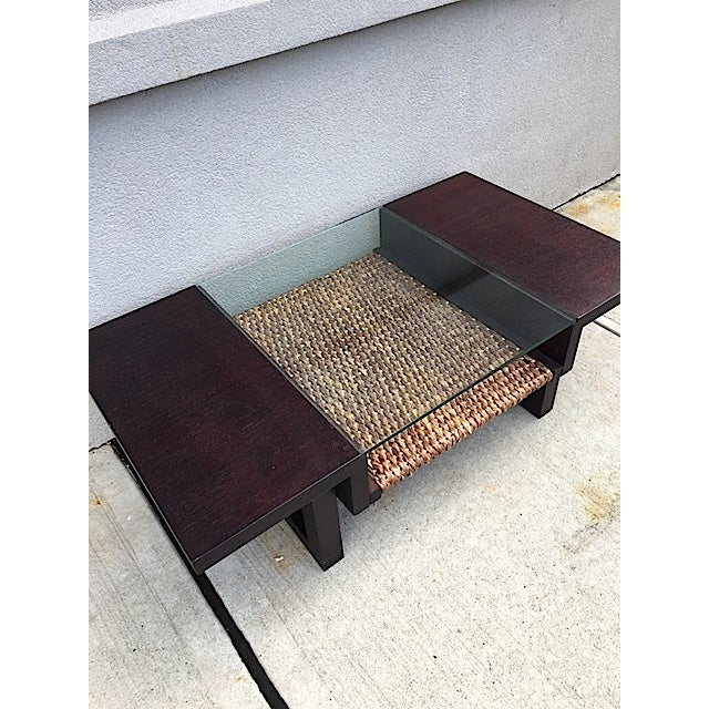 Mid-Century Glass and Rattan Coffee Table - Image 4 of 7