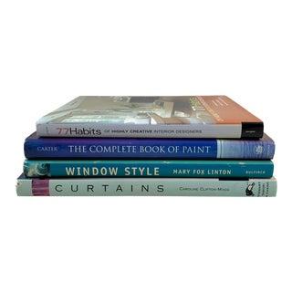 Interior Decor Design & Source Books, Windows, Curtains, Furnishings, Paint, S/4 For Sale