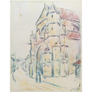 1959 Alfred Sisley, the Church at Moret Large Hungarian Vintage Print For Sale