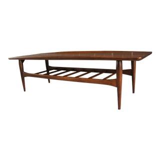 Mid Century Modern Bassett Artisan Walnut Surfboard Coffee Table For Sale