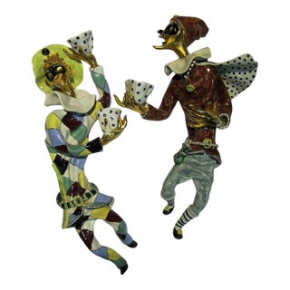 "1950s San Polo Ceramic ""Pantalone and Arlecchino"" Sconces - a Pair For Sale"