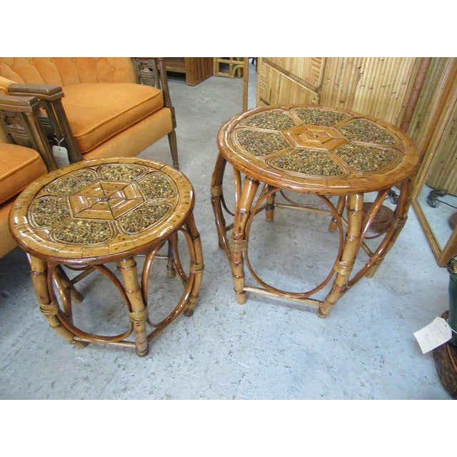 Island Style Drum Tables - a Pair - Image 3 of 10