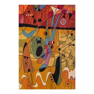 Miro Inspired Chain Stitch Textile Wall Art For Sale