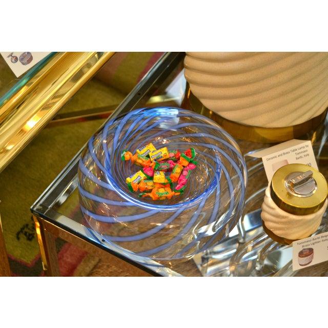 Original Tommaso Barbi Italian Murano Clear & Blue Decorative Candy Dish Bowl For Sale - Image 10 of 11