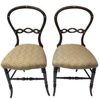 Pair of Petit English Side Chairs For Sale