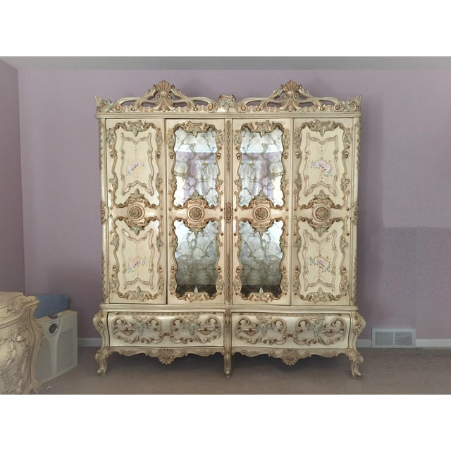 Large Rare Romantic Antique Cream French Rococo Ornate Armoire Fancy Wardrobe W/ Mirrors For Sale - Image 4 of 9