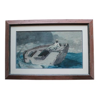 Impressionist Watercolor Painting of a Man in His Boat For Sale