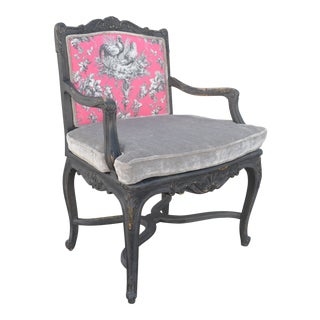 French Provincial Hot Pink Arm Chair
