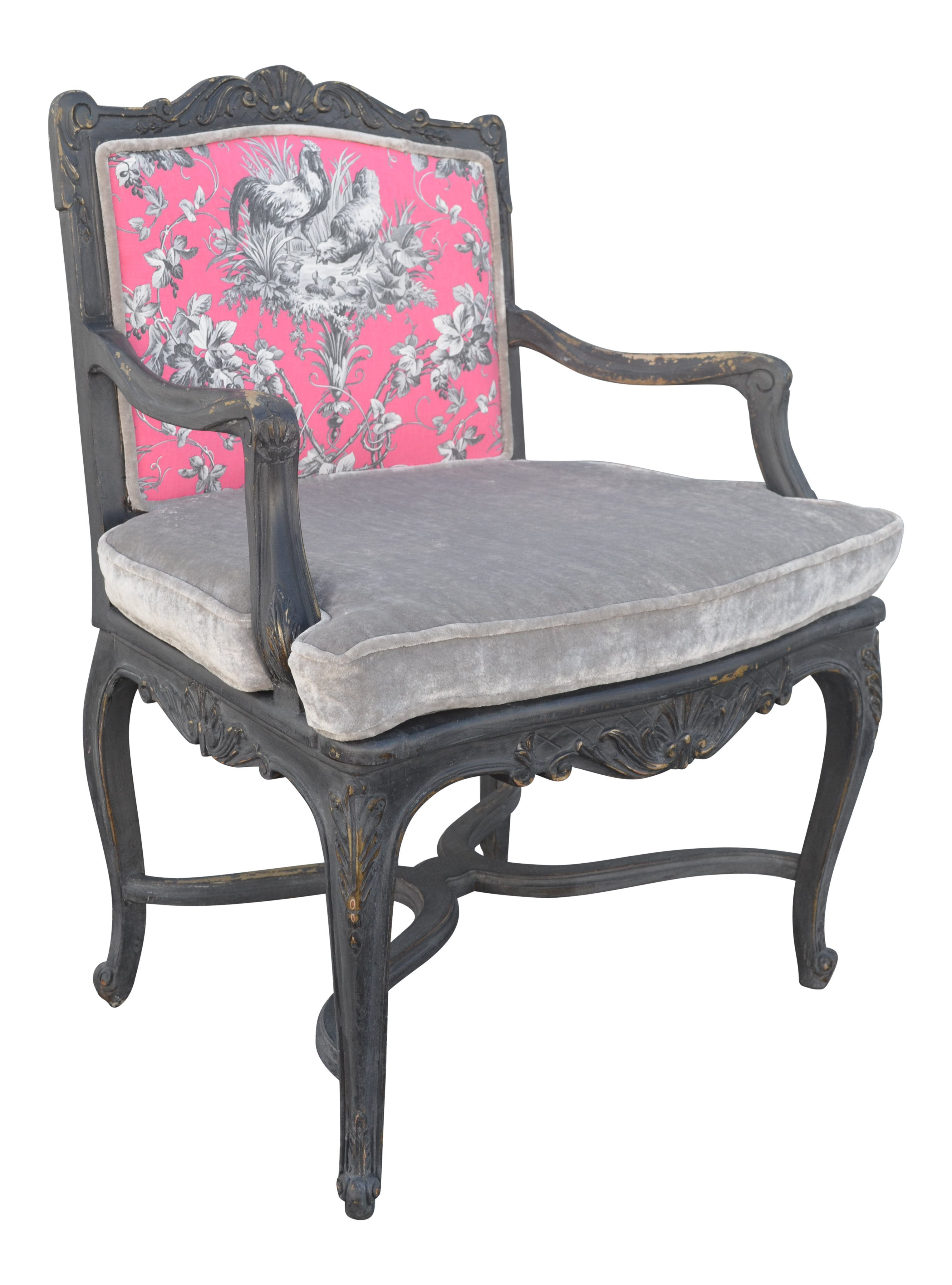 French Provincial Hot Pink Arm Chair For Sale