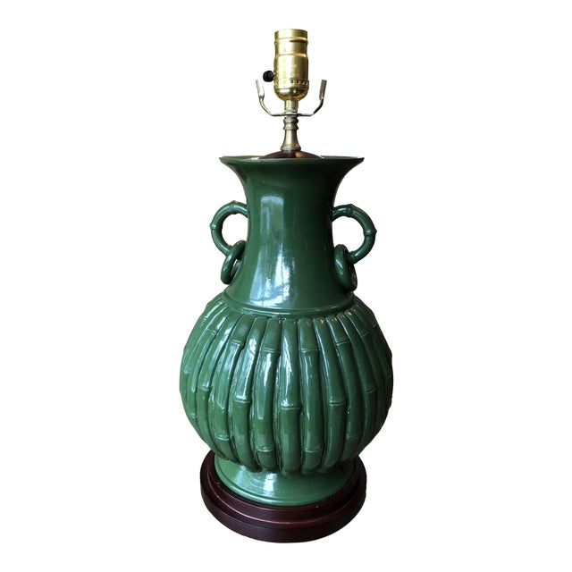 Green Faux Bamboo Lamp For Sale