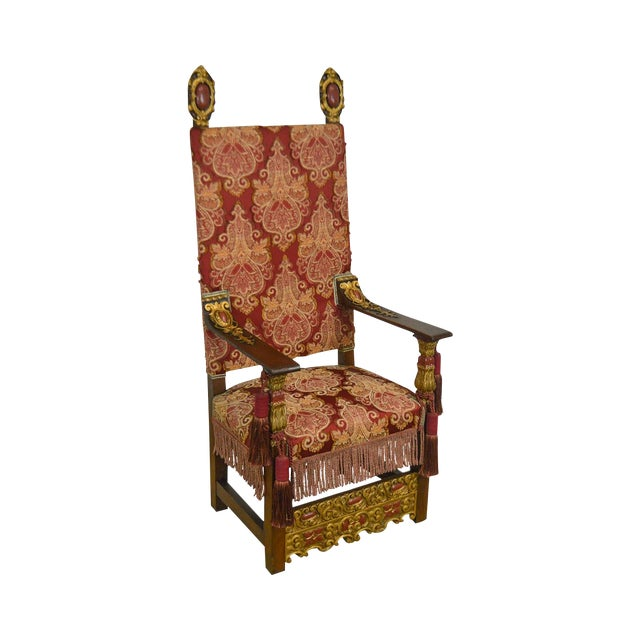 Italian Baroque Style Antique Carved Partial Gilt Throne Chair