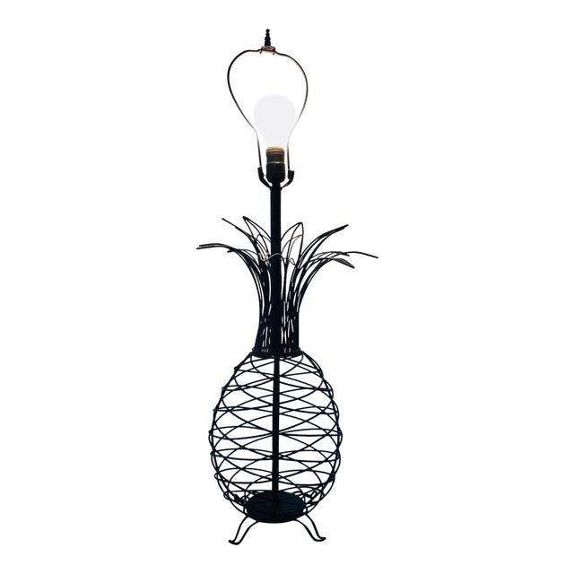 1950s Vintage Ferris Shacknove Black Wire Pineapple Lamp For Sale