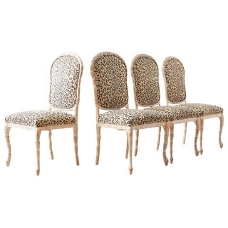 Set of Four Cerused Faux Bois Dining Chairs For Sale