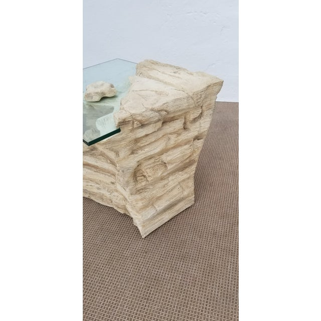 White Sirmos Faux Rock Plaster Side Tables - a Pair For Sale - Image 8 of 13