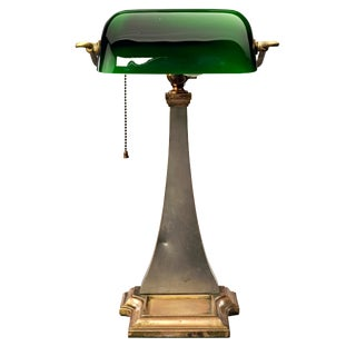 Brass and Nickel Antique Adjustable Executive Desk Lamp With Curved Green Glass Shade For Sale
