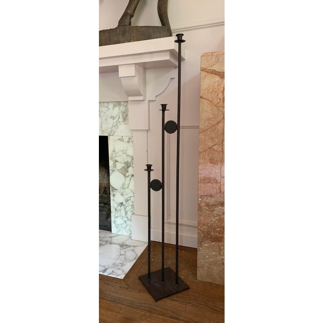 1980s 1980s Post Modern Iron Large Scale Floor Candelabra For Sale - Image 5 of 5