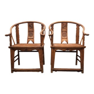 19th Century Large Chinese Ming-Style Horseshoe Back Chairs- A Pair For Sale