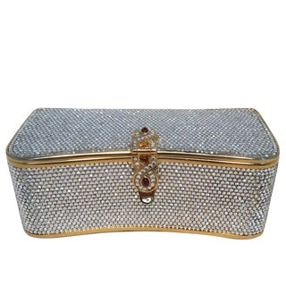 Judith Leiber Vintage Box Clear Swarovski Crystal Minaudiere Evening Bag Clutch For Sale