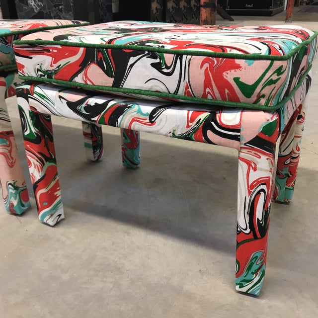Kate Spade Marble Swirl Linen Fabric Covered Benches - a Pair - Image 6 of 10