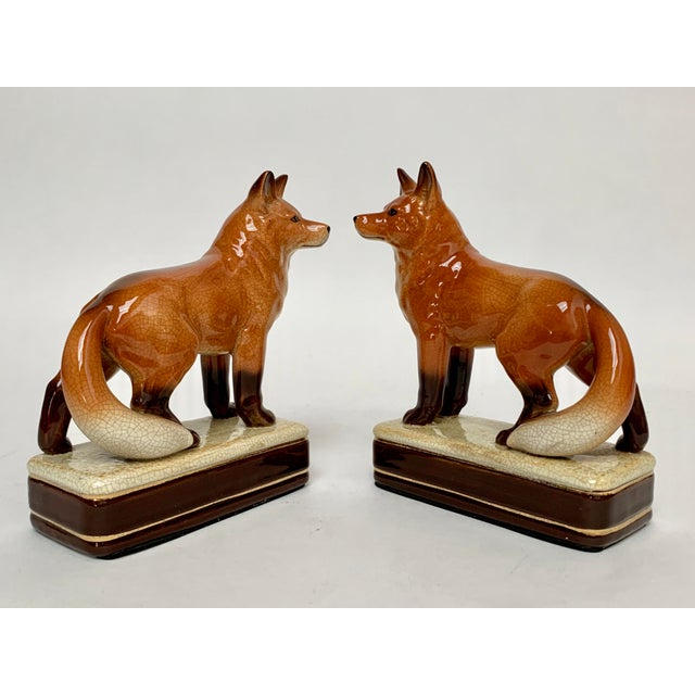 Staffordshire Staffordshire Style Fox Bookends – a Pair For Sale - Image 4 of 12
