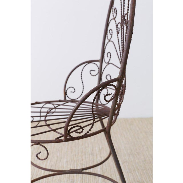 Salterini Style Iron Fan Back Garden Patio Chairs For Sale - Image 12 of 13