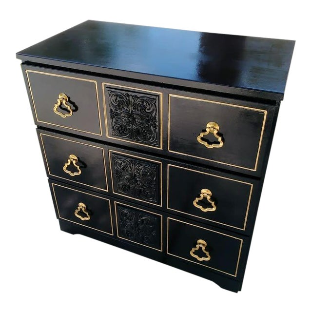 Dorothy Draper Style Hollywood Regency 3 Drawer Black Gold Vintage Small Dresser For Sale