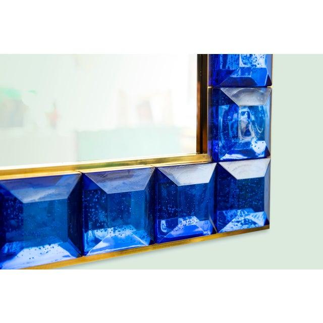 Contemporary Blue Diamond Murano Glass Mirror For Sale - Image 4 of 8