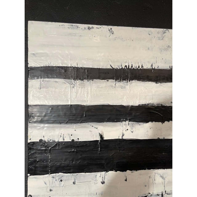 """Lynn Basa Encaustic Black and White Stripe Panel """"Mostly White"""" 2012 For Sale In New York - Image 6 of 12"""
