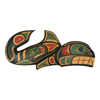 Pacific Northwest Salish Inuit Killer Whale Native American Carving by Larry Niel Barnes For Sale