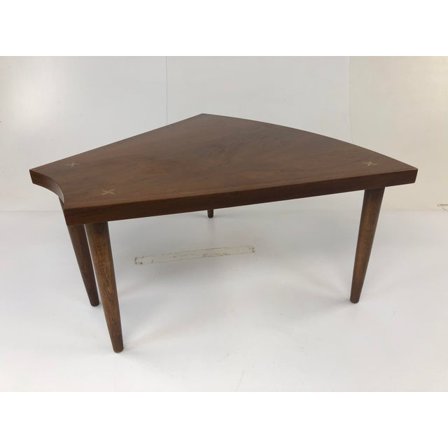 Mid Century Modern Wedge Table - Merton Gershun for American of Martinsville For Sale - Image 13 of 13